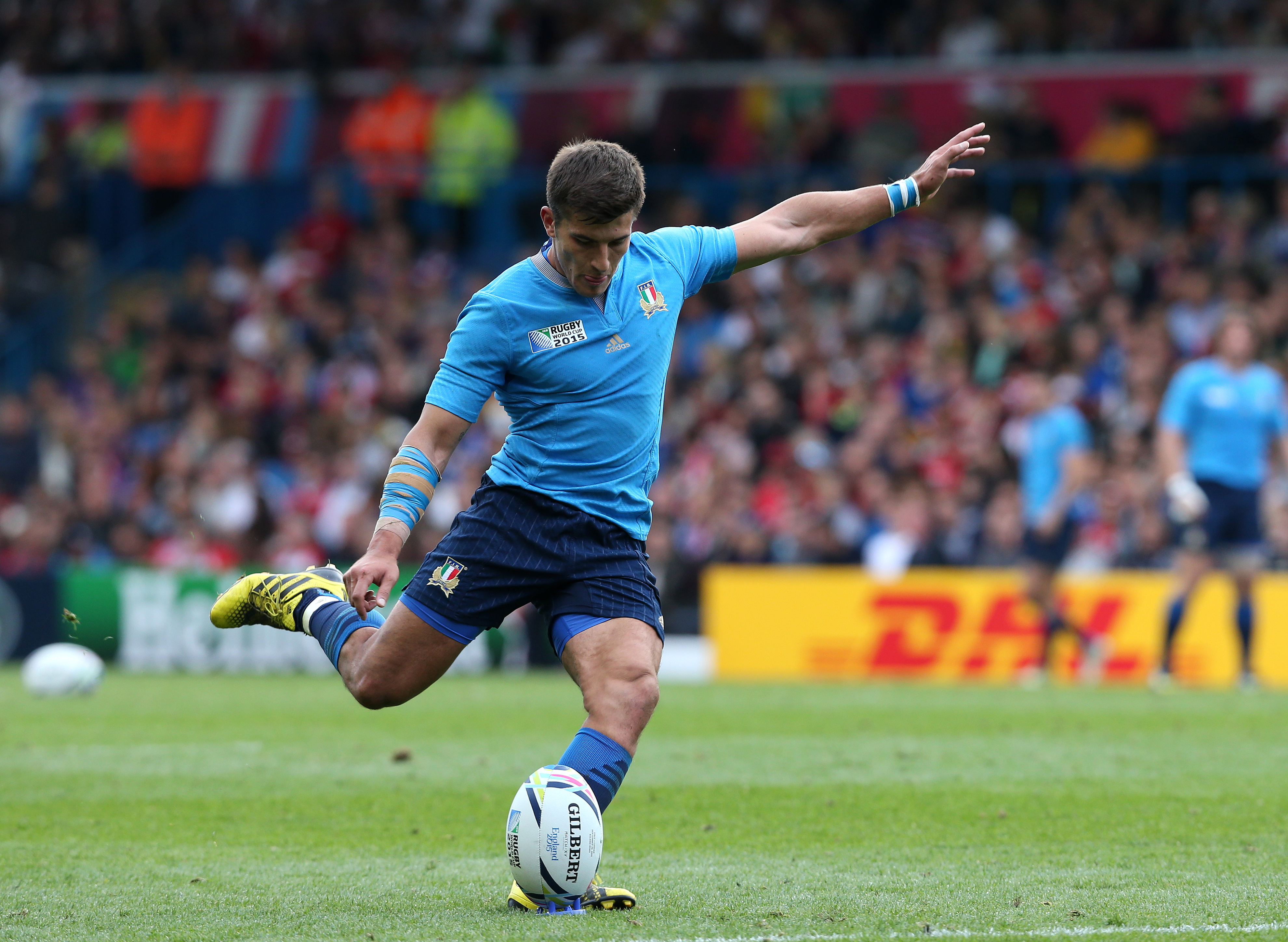 LEEDS, ENGLAND - SEPTEMBER 26 : Tommaso Allen of Italy takes a conversion in the second half during the 2015 Rugby World Cup Pool D match between Italy and Canada at Elland Road on September 26, 2015 in Leeds England. (Photo by Mark Runnacles/Getty Images)