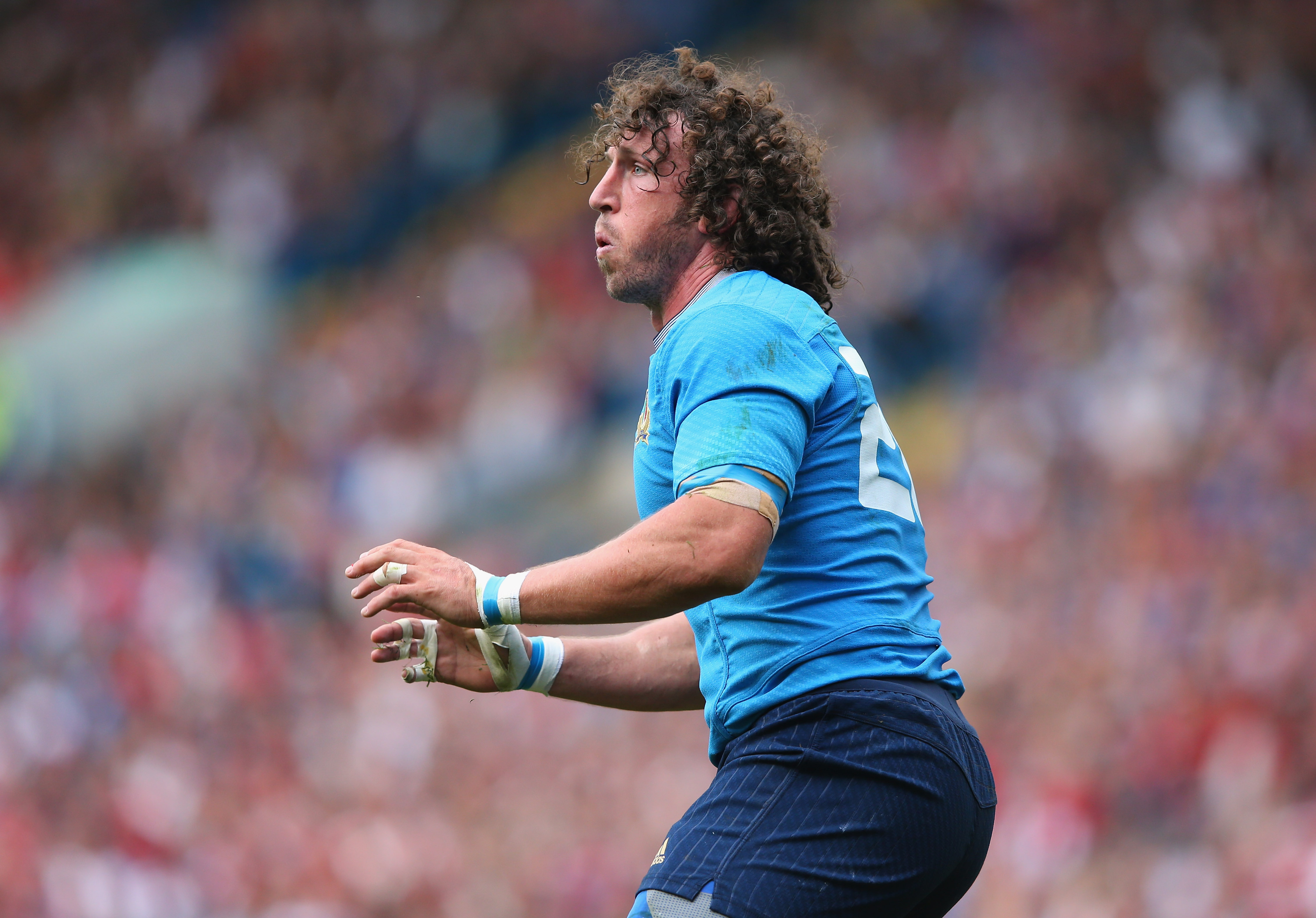 LEEDS, ENGLAND - SEPTEMBER 26:  Mauro Bergamasco of Italy looks on during the 2015 Rugby World Cup Pool D match between Italy and Canada at Elland Road on September 26, 2015 in Leeds, United Kingdom.  (Photo by Alex Livesey/Getty Images)