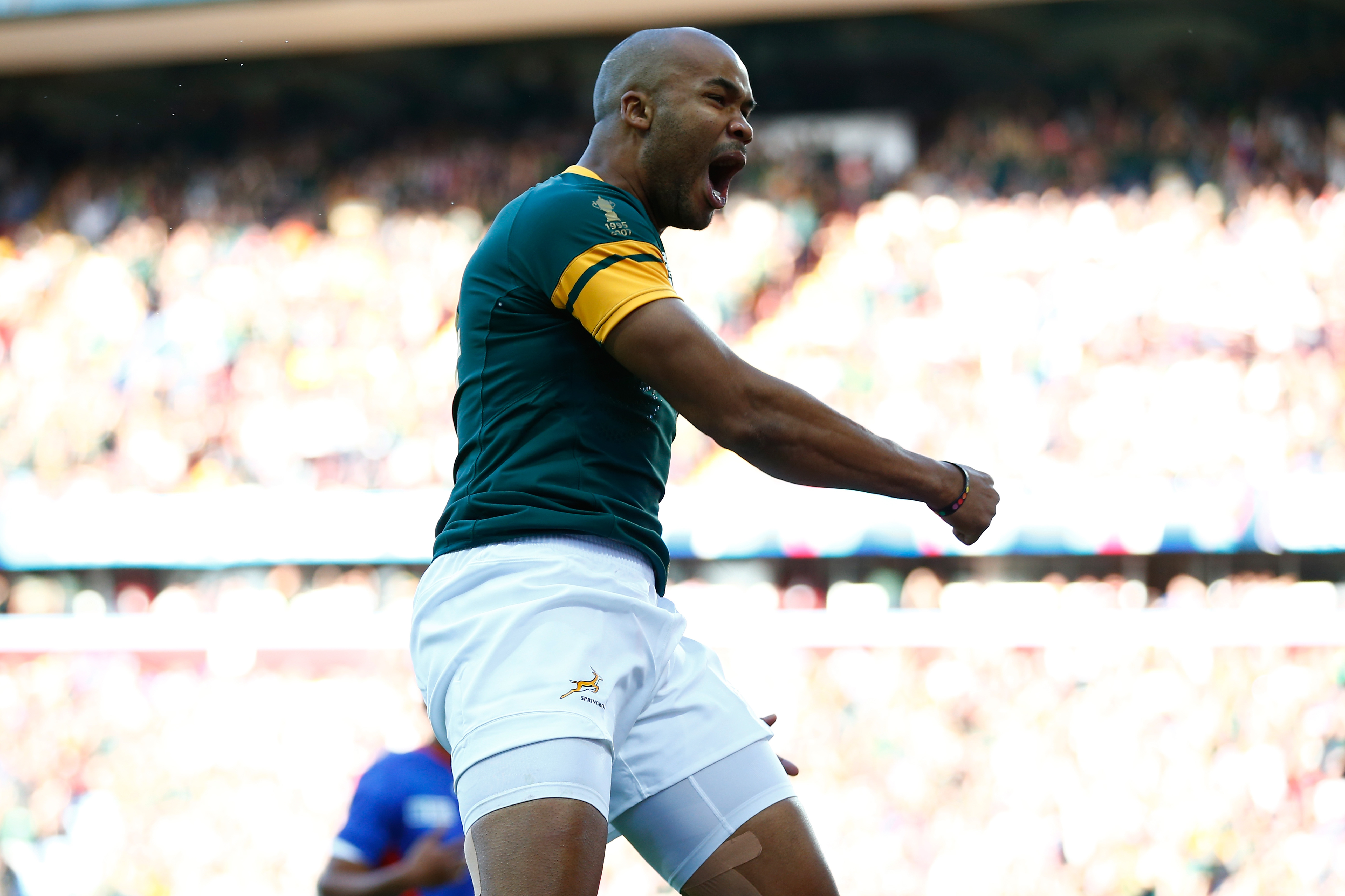 BIRMINGHAM, ENGLAND - SEPTEMBER 26: JP Pietersen of South Africa celebrates scoring the opening try during the 2015 Rugby World Cup Pool B match between South Africa and Samoa at Villa Park on September 26, 2015 in Birmingham, United Kingdom. (Photo by Laurence Griffiths/Getty Images)