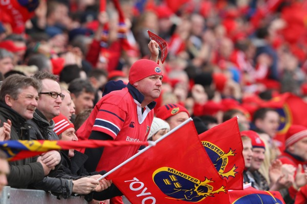 LIMERICK, IRELAND - APRIL 08: Munster fans support their team during the Heineken Cup quarter final match between Munster and Ulster at Thomond Park on April 8, 2012 in Limerick, Ireland. (Photo by David Rogers/Getty Images)