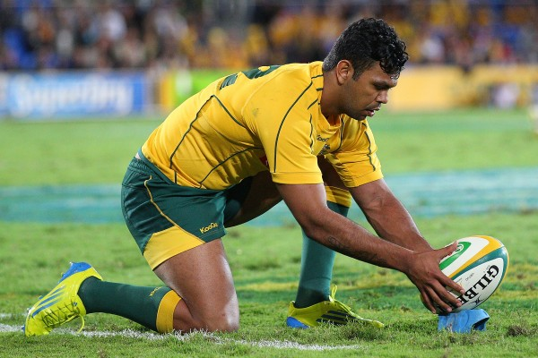 GOLD COAST, AUSTRALIA - SEPTEMBER 15: Kurtley Beale of the Australian Wallabies kicks for goal during the Rugby Championship match between the Australian Wallabies and Argentina at Skilled Park on September 15, 2012 on the Gold Coast, Australia. (Photo by Chris Hyde/Getty Images)