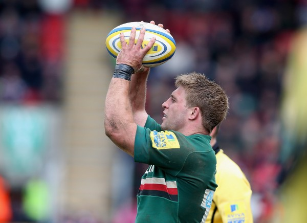 LEICESTER, ENGLAND - MAY 11: Tom Youngs of Leicester lines up a throw during the Aviva Premiership semi final match between Leicester Tigers and Harlequins at Welford Road on May 11, 2013 in Leicester, England. (Photo by David Rogers/Getty Images)