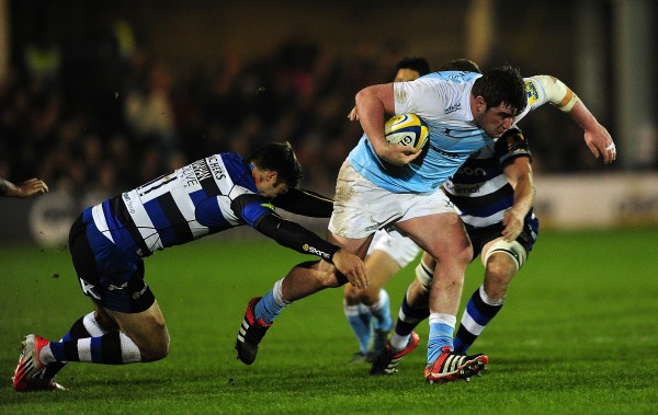 BATH, ENGLAND - NOVEMBER 15:  Scott Wilson of Newcastle Falcons is tackled by Matt Banahan of Bath during the Aviva Premiership match between Bath Rugby and Newcastle Falcons at The Recreation Ground on November 15, 2014 in Bath, England.  (Photo by Dan Mullan/Getty Images)