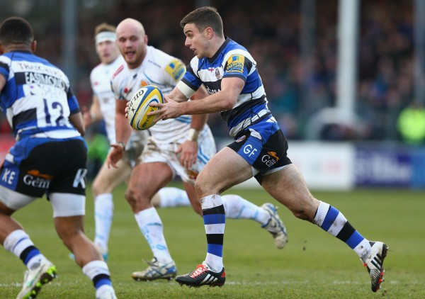 of Bath of Exeter during the Aviva Premiership match between Bath Rugby and Exeter Chiefs at the Recreation Ground on December 27, 2014 in Bath, England.