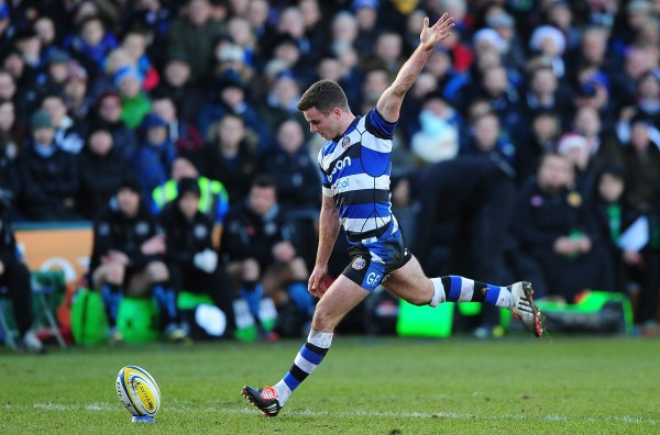 BATH, ENGLAND - DECEMBER 27: George Ford of Bath takes a kick at goal during the Aviva Premiership match between Bath Rugby and Exeter Chiefs at Recreation Ground on December 27, 2014 in Bath, England. (Photo by Dan Mullan/Getty Images)
