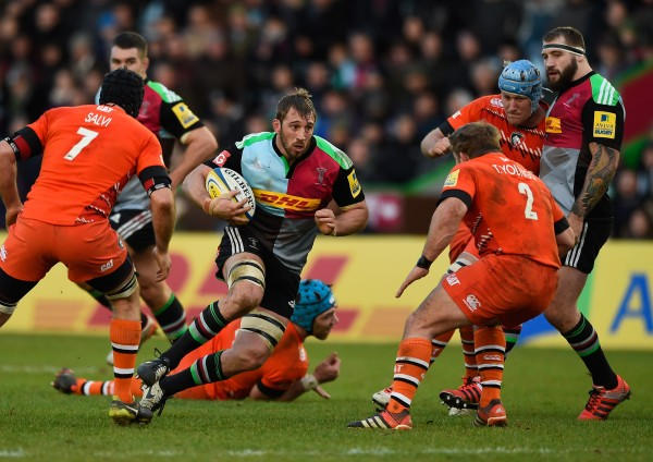 during the Aviva Premiership match between harlequins and Leicester Tigers at Twickenham Stoop on January 10, 2015 in London, England.