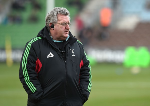LONDON, ENGLAND - FEBRUARY 21: Head coach of Harlequins John Kingston looks on prior to the Aviva Premiership match between Harlequins and Exeter Chiefs at the Twickenham Stoop on February 21, 2015 in London, England. (Photo by Tom Dulat/Getty Images)