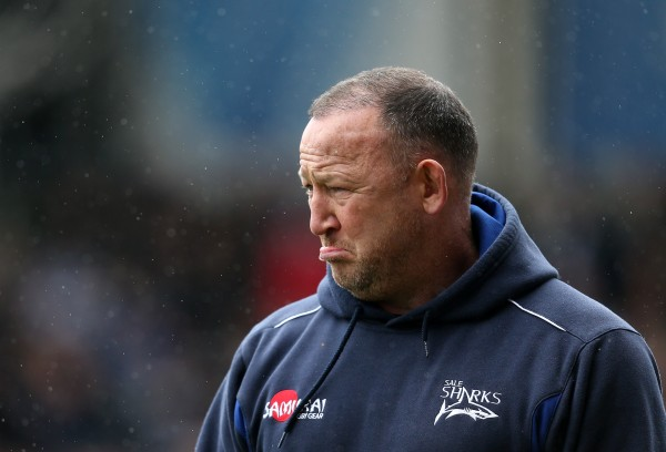 SALFORD, ENGLAND - MARCH 29: Sale Shark's Director of Rugby Steve Diamond looks on during the Aviva Premiership rugby match between Sale Sharks and Gloucester Rugby at AJ Bell Stadium on March 29, 2015 in Salford, England. (Photo by Jan Kruger/Getty Images)