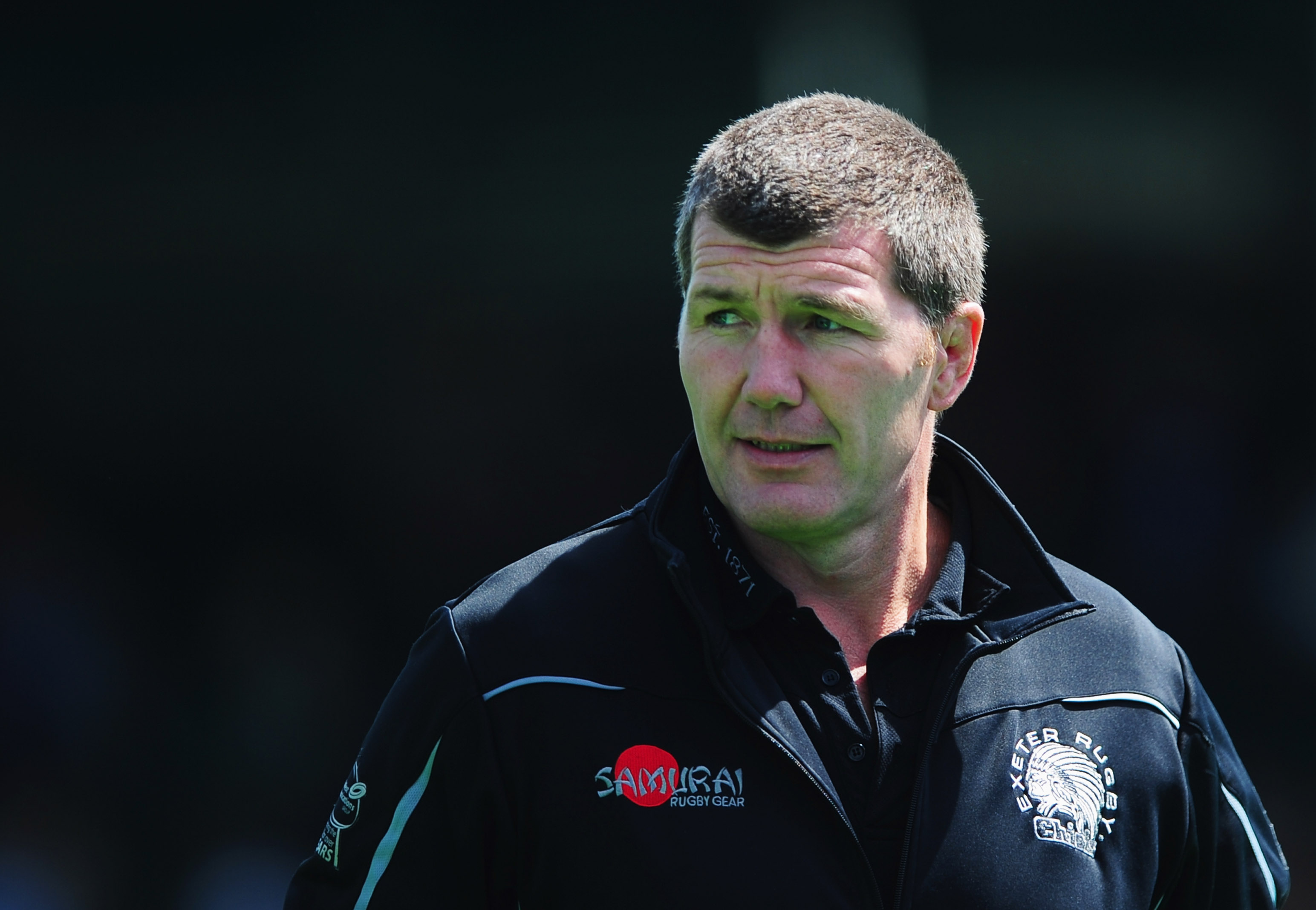 BARNET, ENGLAND - MAY 10: Rob Baxter head coach of Exeter Chiefs looks on prior to the Aviva Premiership match between Saracens and Exeter Chiefs at Allianz Park on May 10, 2015 in Barnet, England. (Photo by Dan Mullan/Getty Images)