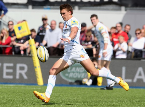 during the Aviva Premiership match between Saracens and Exeter Chiefs at Allianz Park on May 10, 2015 in Barnet, England.