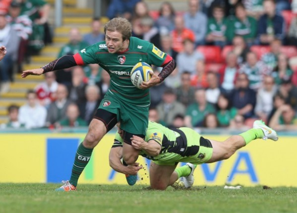 LEICESTER, ENGLAND - MAY 16: Mathew Tait of Leicester breaks with the ball during the Aviva Premiership match between Leicester Tigers and Northampton Saints at Welford Road on May 16, 2015 in Leicester, England. (Photo by David Rogers/Getty Images)