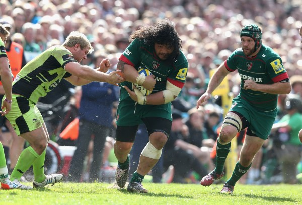 during the Aviva Premiership match between Leicester Tigers and Northampton Saints at Welford Road on May 16, 2015 in Leicester, England.