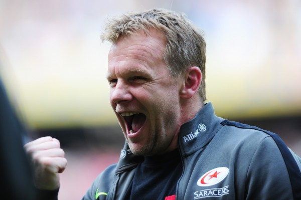 LONDON, ENGLAND - MAY 30: Mark McCall the Saracens head coach celebrates his team's 28-16 victory during the Aviva Premiership Final between Bath Rugby and Saracens at Twickenham Stadium on May 30, 2015 in London, England (Photo by Dan Mullan/Getty Images)