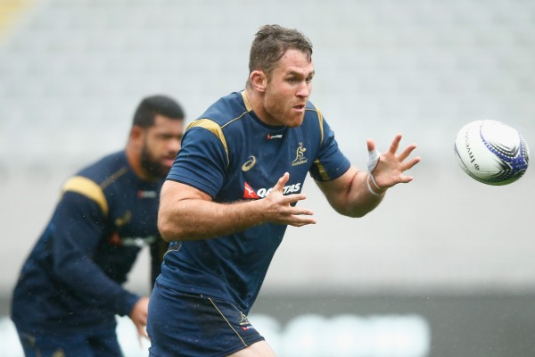 AUCKLAND, NEW ZEALAND - AUGUST 14: James Horwill of the Wallabies takes a pass during the Australian Wallabies Captain's Run at Eden Park on August 14, 2015 in Auckland, New Zealand. (Photo by Phil Walter/Getty Images)