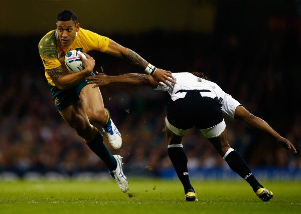 during the 2015 Rugby World Cup Pool A match between Australia and Fiji at the Millennium Stadium on September 23, 2015 in Cardiff, United Kingdom.