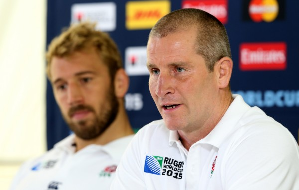 BAGSHOT, ENGLAND - OCTOBER 01: Stuart Lancaster, (R) the England head coach and team captain, Chris Robshaw face the media during the England media session at Pennyhill Park on October 1, 2015 in Bagshot, England. (Photo by David Rogers/Getty Images)
