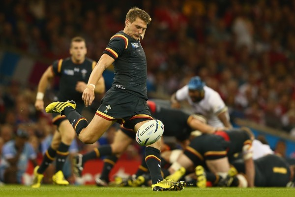 CARDIFF, WALES - OCTOBER 01: Dan Biggar of Wales during the 2015 Rugby World Cup Pool A match between Wales and Fiji at Millennium Stadium on October 1, 2015 in Cardiff, United Kingdom. (Photo by Michael Steele/Getty Images)