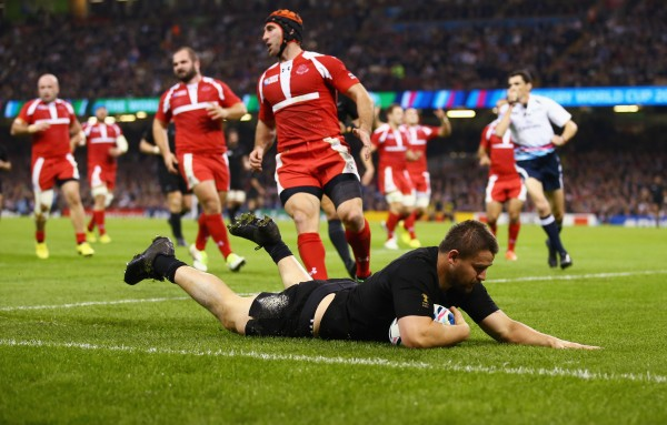 CARDIFF, WALES - OCTOBER 02: Dane Coles of the New Zealand All Blacks scores their fourth try during the 2015 Rugby World Cup Pool C match between New Zealand and Georgia at the Millennium Stadium on October 2, 2015 in Cardiff, United Kingdom. (Photo by Richard Heathcote - World Rugby/World Rugby via Getty Images)