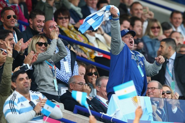 LEICESTER, ENGLAND - OCTOBER 04: Diego Maradona celebrates Argentina's second try during the 2015 Rugby World Cup Pool C match between Argentina and Tonga at Leicester City Stadium on October 4, 2015 in Leicester, United Kingdom. (Photo by Michael Steele/Getty Images)