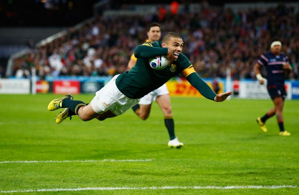 during the 2015 Rugby World Cup Pool B match between South Africa and USA at the Olympic Stadium on October 7, 2015 in London, United Kingdom.