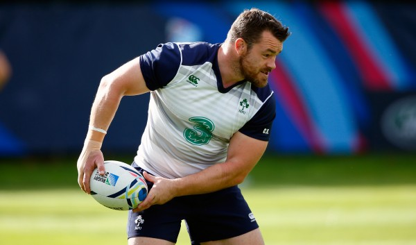 NEWPORT, WALES - OCTOBER 09: Ireland player Cian Healy in action during Ireland training ahead of their final group match against France, at Newport High school on October 9, 2015 in Newport, Wales. (Photo by Stu Forster/Getty Images)