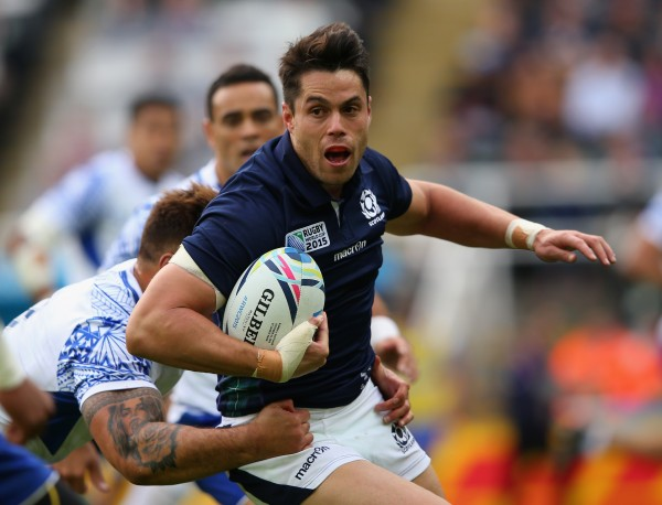 NEWCASTLE UPON TYNE, ENGLAND - OCTOBER 10: Sean Maitland of Scotland looks to break with the ball during the 2015 Rugby World Cup Pool B match between Samoa and Scotland at St James' Park on October 10, 2015 in Newcastle upon Tyne, United Kingdom. (Photo by Alex Livesey/Getty Images)