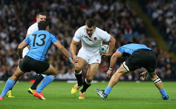 during the 2015 Rugby World Cup Pool A match between England and Uruguay at Manchester City Stadium on October 10, 2015 in Manchester, United Kingdom.