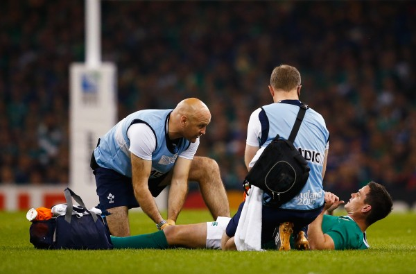 CARDIFF, WALES - OCTOBER 11: Jonathan Sexton of Ireland receives treatment during the 2015 Rugby World Cup Pool D match between France and Ireland at Millennium Stadium on October 11, 2015 in Cardiff, United Kingdom. (Photo by Laurence Griffiths/Getty Images)