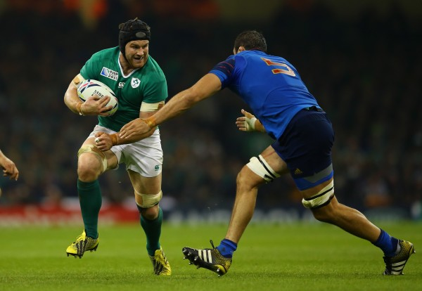 CARDIFF, WALES - OCTOBER 11: Sean O'Brien of Ireland is challenged by Yoann Maestri of France during the 2015 Rugby World Cup Pool D match between France and Ireland at Millennium Stadium on October 11, 2015 in Cardiff, United Kingdom. (Photo by Richard Heathcote - World Rugby/World Rugby via Getty Images)