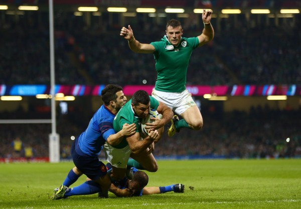 CARDIFF, WALES - OCTOBER 11: Rob Kearney of Ireland scores their first try during the 2015 Rugby World Cup Pool D match between France and Ireland at Millennium Stadium on October 11, 2015 in Cardiff, United Kingdom. (Photo by Michael Steele/Getty Images)