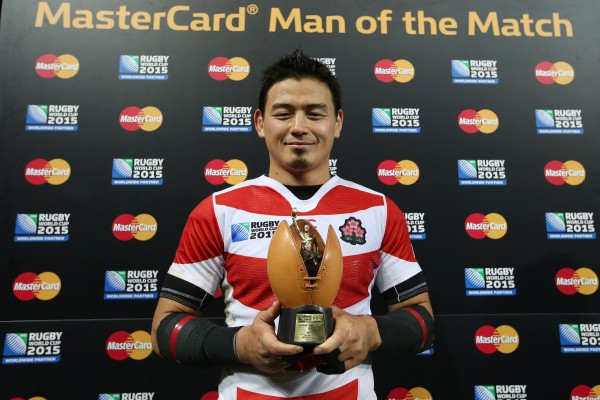 GLOUCESTER, ENGLAND - OCTOBER 11: Ayumu Goromaru of Japan is presented with his Man of the match award after the 2015 Rugby World Cup Pool B match between USA and Japan at Kingsholm Stadium on October 11, 2015 in Gloucester, United Kingdom. (Photo by Steve Bardens - World Rugby/World Rugby via Getty Images)