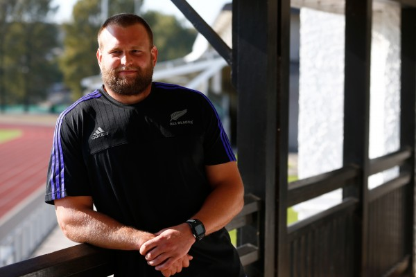 during a New Zealand All Blacks media session on October 12, 2015 in Swansea, United Kingdom.