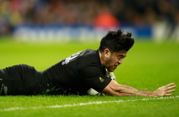 during the 2015 Rugby World Cup Quarter Final match between New Zealand and France at the Millennium Stadium on October 17, 2015 in Cardiff, United Kingdom.