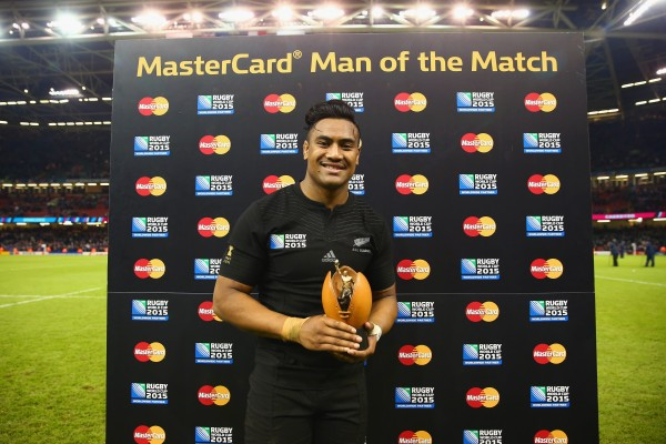 CARDIFF, WALES - OCTOBER 17: Julian Savea of the New Zealand All Blacks is awarded the Man of the Match award following the 2015 Rugby World Cup Quarter Final match between New Zealand and France at the Millennium Stadium on October 17, 2015 in Cardiff, United Kingdom. (Photo by Matt Lewis - World Rugby/World Rugby via Getty Images)