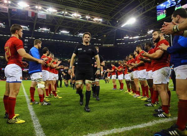 CARDIFF, WALES - OCTOBER 17: Captain Richie McCaw of the New Zealand All Blacks leads his team off the field after victory in the 2015 Rugby World Cup Quarter Final match between New Zealand and France at the Millennium Stadium on October 17, 2015 in Cardiff, United Kingdom. (Photo by Richard Heathcote - World Rugby/World Rugby via Getty Images)