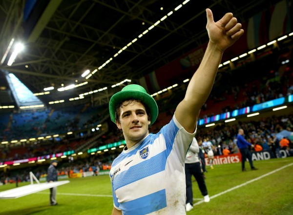 CARDIFF, WALES - OCTOBER 18: Nicolas Sanchez of Argentina celebrates victory after the 2015 Rugby World Cup Quarter Final match between Ireland and Argentina at Millennium Stadium on October 18, 2015 in Cardiff, United Kingdom. (Photo by Richard Heathcote - World Rugby/World Rugby via Getty Images)