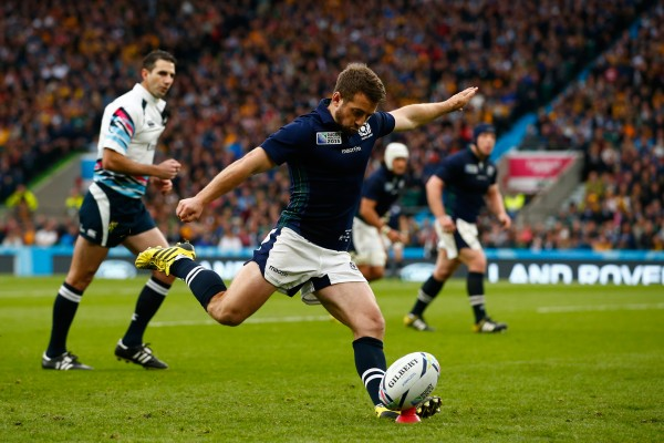 LONDON, ENGLAND - OCTOBER 18: Greig Laidlaw of Scotland kicks at goal during the 2015 Rugby World Cup Quarter Final match between Australia and Scotland at Twickenham Stadium on October 18, 2015 in London, United Kingdom. (Photo by Dan Mullan/Getty Images)