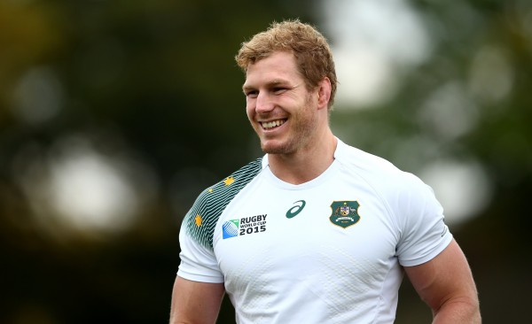 LONDON, ENGLAND - OCTOBER 24: David Pocock of Australia smiles during the Australia Captain's Run ahead of the 2015 Rugby World Cup Semi Final against Argentina at The Lensbury Hotel on October 24, 2015 in London, United Kingdom. (Photo by Dan Mullan/Getty Images)