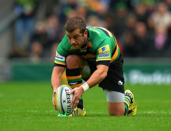 xxxx of Northampton Saints is tackled by xxxx of Newcastle Falcons during the Aviva Premiership match between Northampton Saints and Newcastle Falcons at StadiumMK on October 24, 2015 in Milton Keynes, England.