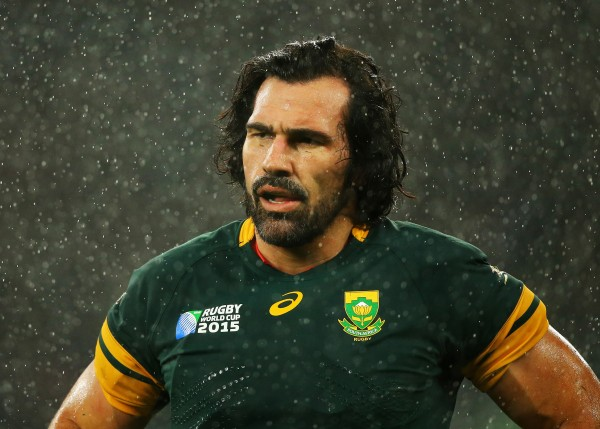 LONDON, ENGLAND - OCTOBER 24: Victor Matfield of South Africa stands dejected as the rain falls down during the 2015 Rugby World Cup Semi Final match between South Africa and New Zealand at Twickenham Stadium on October 24, 2015 in London, United Kingdom. (Photo by Richard Heathcote - World Rugby/World Rugby via Getty Images)