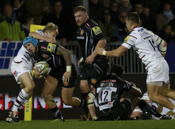 EXETER, ENGLAND - OCTOBER 24: Jack Nowell of Exeter Chiefs attempts to grt through the defence of London Irish during the Aviva Premiership Match between Exeter Chiefs and London Irish at Sandy Park on October 24, 2015 in Exeter, England. (Photo by Getty Images)