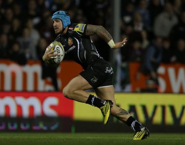 EXETER, ENGLAND - OCTOBER 24: Jack Nowell of Exeter Chiefs in action during the Aviva Premiership Match between Exeter Chiefs and London Irish at Sandy Park on October 24, 2015 in Exeter, England. (Photo by Getty Images)