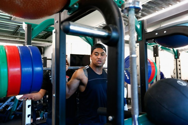 WEYBRIDGE, ENGLAND - OCTOBER 26: Julian Savea of the All Blacks squats during a New Zealand All Blacks training session at London Irish on October 26, 2015 in Bagshot, United Kingdom. (Photo by Phil Walter/Getty Images)