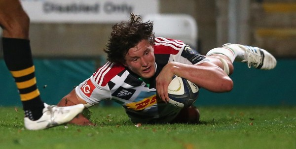HIGH WYCOMBE, ENGLAND - OCTOBER 26: Charlie Matthews of Harlequins dives over for a try during the European Rugby Champions Cup match between Wasps and Harlequins at Adams Park on October 26, 2014 in High Wycombe, England. (Photo by David Rogers/Getty Images)