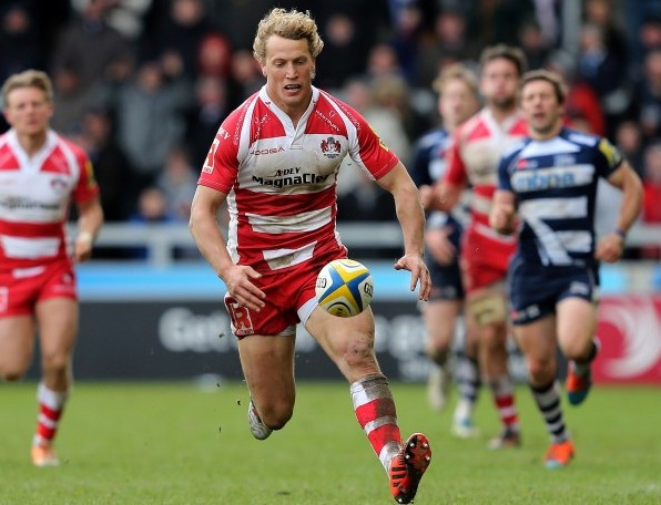 SALFORD, ENGLAND - MARCH 29: Billy Twelvetrees of Gloucester retrieves a ball during the Aviva Premiership rugby match between Sale Sharks and Gloucester Rugby at AJ Bell Stadium on March 29, 2015 in Salford, England. (Photo by Jan Kruger/Getty Images)