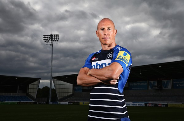 SALFORD, ENGLAND - SEPTEMBER 03: (Editors note: A high pass filter has been applied to this image) Peter Stringer of Sale Sharks poses for a portrait at the photocall held at the AJ Bell Stadium on September 3, 2015 in Salford, England. (Photo by Alex Livesey/Getty Images)