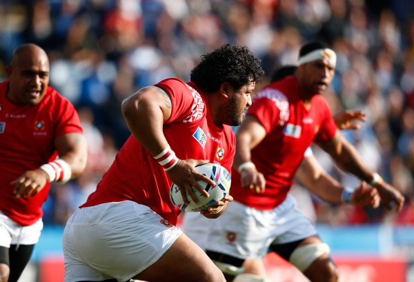 LEICESTER, ENGLAND - OCTOBER 04: Opeti Fonua of Tonga runs with the ball during the 2015 Rugby World Cup Pool C match between Argentina and Tonga at Leicester City Stadium on October 4, 2015 in Leicester, United Kingdom. (Photo by Laurence Griffiths/Getty Images)