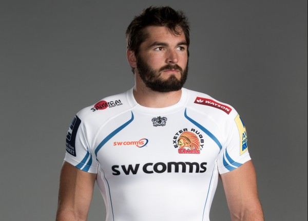 Don Armand of Exeter Chiefs poses for a picture during the Exeter Chiefs photocall for BT at Sandy Park Stadium on September 8, 2015 in Exeter, England. (Photo by Julian Finney/Getty Images for BT)