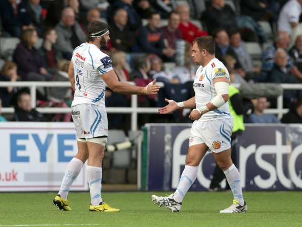 NEWCASTLE UPON TYNE, ENGLAND - NOVEMBER 1: Don Armand (L) of Exeter Chiefs celebrates with team-mate Ben Moon after he scores a try for his side during the Aviva Premiership match between Newcastle Falcons and Exeter Chiefs at Kingston Park on November 1, 2015 in Newcastle upon Tyne, England. (Photo by Clint Hughes/Getty Images)