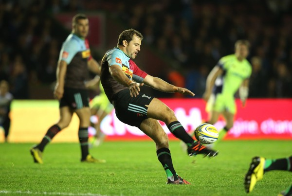 during the Aviva Premiership match between Harlequins and Sale Sharks at Twickenham Stoop on November 6, 2015 in London, England.